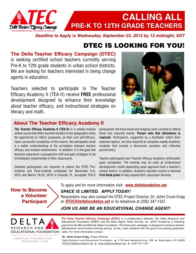 Delta Teacher Efficacy Academy Application Deadline: Midnight, 9-23-15